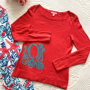 Lilly Pulitzer Cashmere Cotton Octopus sweater SM